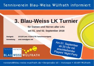 3. Wülfrather LK Turnier September 2018